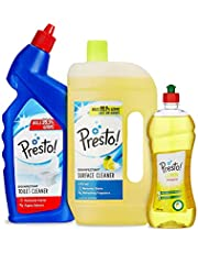 Amazon Brand - Presto! Combo (Toilet Cleaner 1 L + Surface Cleaner 975 ml + Dishwash Gel 750 ml)