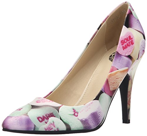 T.U.K. Shoes Women's Candy Hearts Pointed Diana Heel Multi Colour