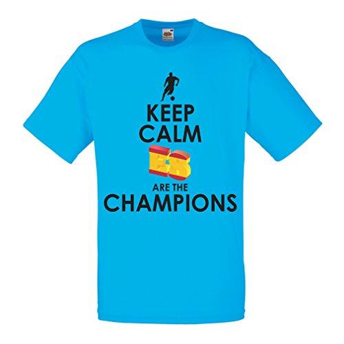 Lepni.me maglietta da uomo gli spagnoli sono i campioni, il campionato di russia il 2018, la coppa mondiale - la squadra di calcio di camicia di ammiratore della spagna (large azzulo multicolore)