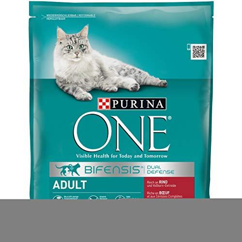 Purina ONE BIFENSIS Adult Katzentrockenfutter: reich an Rind, stärkt Abwehrkräfte, gesunde Knochen, Zähne, Harnwege I ab 1 Jahr I 8er Pack (8 x 800 g)
