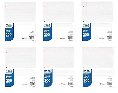 Mead Filler Papier, Loose Leaf Papier, College liniertes Papier, 200Blatt/Packung, 27,9cm X 8-1/5,1cm weiß, 6Pack, 1200Blatt Gesamt (17208)-Paket enthält Universal Brieföffner. 6 Pack Bundle Universal Bundle