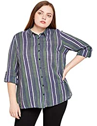 1dc2c0fb3db59d oxolloxo Plus Size Women Multicolor Striped Shirt Long Sleeves