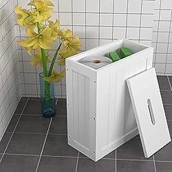 woodluv Shaker Slimline Meuble de Rangement Fin pour Multi-Usage pour Salle de Bain en Bois Blanc