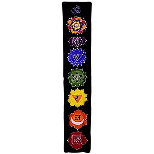 Bali Baumwoll Wandtuch Chakra Banner kräftige Farben 183 x 35cm schwarz