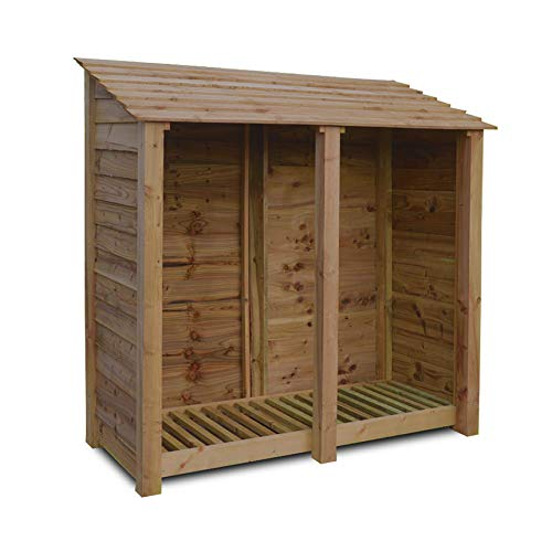 Rutland County Garden Furniture HAMBLETON 6FT - WOODEN LOG STORE/GARDEN STORAGE, BROWN, HEAVY DUTY, HAND MADE, PRESSURE TREATED.