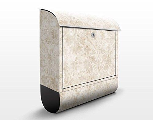 Design Briefkasten Antiker Damast | Briefkasten FILL ME, Postkasten mit Zeitungsrolle, Wandbriefkasten, Mailbox, Letterbox, Briefkastenanlage, Dekorfolie