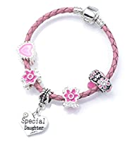 'Special Daughter' Pink Leather Charm Bracelet for Girls Presented in High Quality Gift Pouch (18)