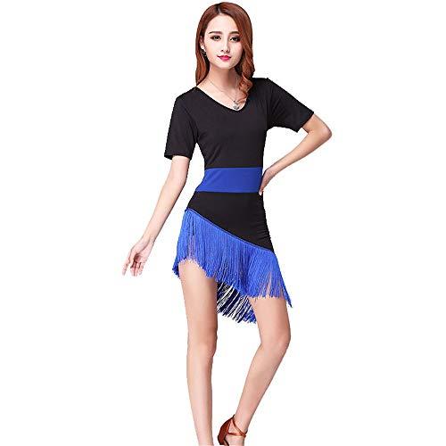 Damen Performance Kleid Frauen Latin Dance Dress Kurzarm Colorblock Asymmetrische Fransen Quasten Rumba Samba Tango Ballsaal Dancewear Performance Wettbewerb Tanzkleid ( Farbe : Blau , Größe : L )