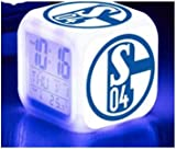 M.M FC Schalke LED Digital Alarm Clock Night Light 7 Colors Flash LED Soccer
