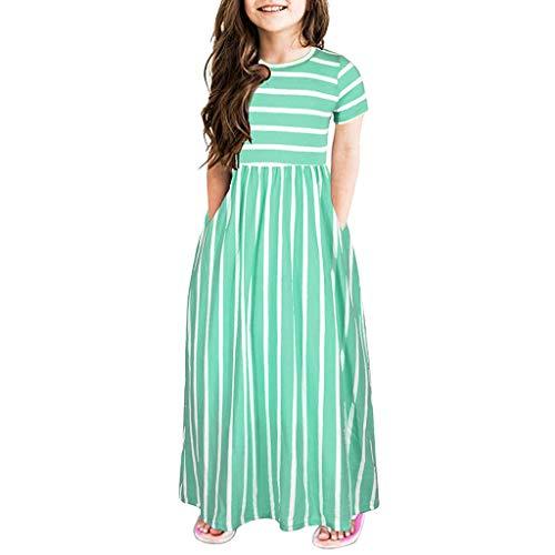 DQANIU- Mädchen Kleid, Kinder und Mutter - Mädchen Kleid & Rock, Kleinkind Baby Mädchen Kurzarm Striped Print Kleid Kinder Kleider Kleidung, Sweet Party/Princess Dinner Dress (2Y-12Y)