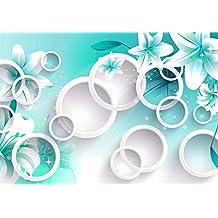 Fototapete Perlen Blume 3D Grün Effekt Tuch Welle Muster Abstrakt Falten Perle