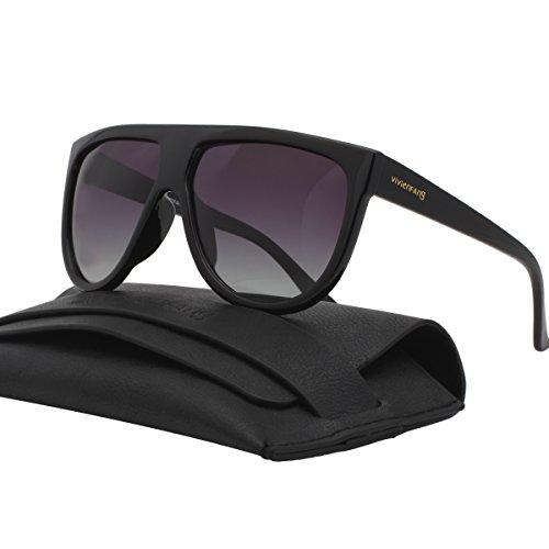 Vivienfang Flat Top Damen Herren Modisch Designer Sonnenbrille Polarisierte Aviator Brillen P1835A Black