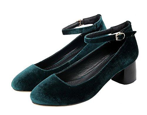 VogueZone009 Femme à Talon Bas Suédé Couleur Unie Boucle Rond Chaussures Légeres Vert Foncé
