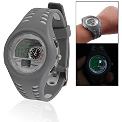 Woman Men Gray Soft Band LCD Display Sports Quartz Alarm Stop Watch