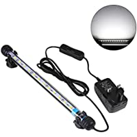 UEETEK 28CM LED Pecera luces de iluminación del acuario 5050 SMD RGB barra de luz bajo el agua sumergible impermeable Clip lámpara - Blanco (Europa estándar Plug)