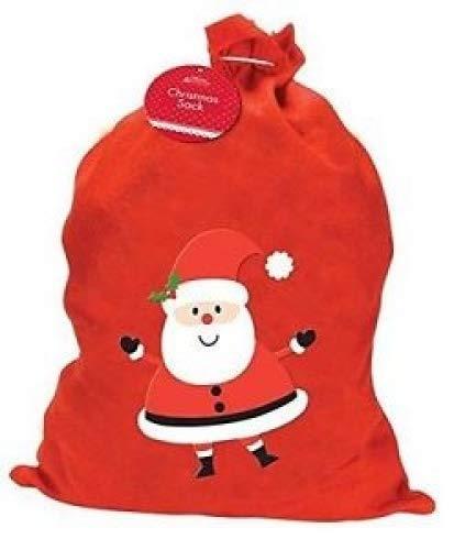 Home Collection - Sacco per regali natalizi, misura grande, motivo: Babbo Natale, colore rosso