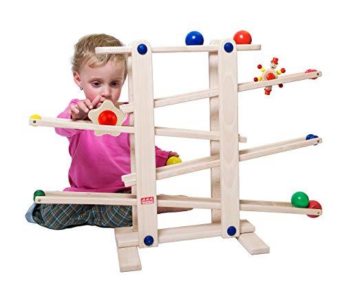 Trihorse circuit de billes en bois pour enfants à partir de 1 an, très stable, avec 6 pièces roulantes, fabriqué en UE.