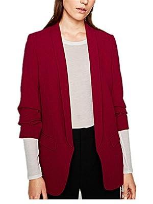 Monissy Womens Plain Blazer Work Office Front Cardigan Casual Jacket Long Sleeve Coat