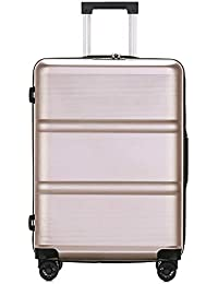5f003ddbca023a Cabin Suitcase Lightweight Pure PC High-end Password Business Travel  Carry-on Hand Luggage 4 Spinner Wheels…