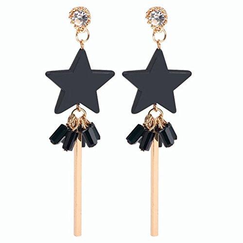 Fablcrew longue Section Tassel des boucles d'oreilles Fivepointed étoile Clou d'oreille clous d'oreille Femme Bijoux – Noir