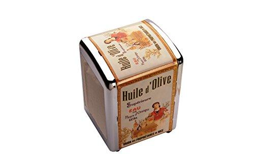 French Classics - Dispensador de servilletas (metal), diseño con texto Huile d'Olive