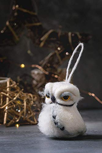 Feltro Natale Gufo Art Doll Needle Feltro Animale Lana Scultura Bambola In Miniatura Eco-friendly Gufo figurina Gufo Divertente per l'albero di Natale
