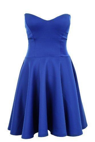 SAPHIR Femmes Bandeau Bustier Soirée Pour Femmes Robe Patineuse Tailles 36 38 40 14 Bleu Roi