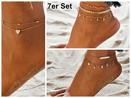 Fußkettchen in Gold I Größenverstellbar I Boho Fußkette oder Armband für Damen und Mädchen I Frauen Mode-Schmuck ()