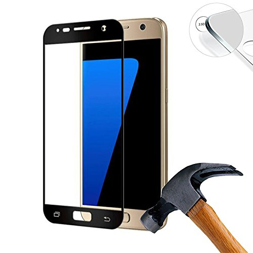 Lusee 2 X Pack (vollständige Abdeckung) 9H Panzerglasfolie Tempered Glass Hartglas für Samsung Galaxy S7 SM-G930F SM-G9300 G9308 5.1 Zoll Premium Screen Folie Protector Bildschirmschutz (Schwarz)