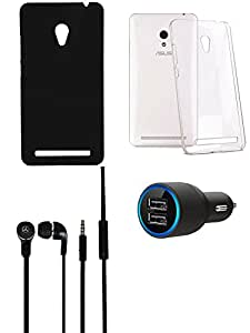 NIROSHA Cover Case Car Charger Headphone for ASUS Zenfone 5 - Combo