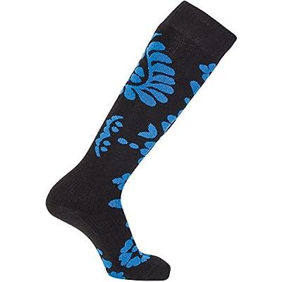 Flowers schwarz/blau Sionyx Snowboardsocke mit Blumen Muster Skisocke Sportsocke Kniestrumpf Funktionsstrumpf Damen Herren Unisex von Sionyx - Outdoor Shop