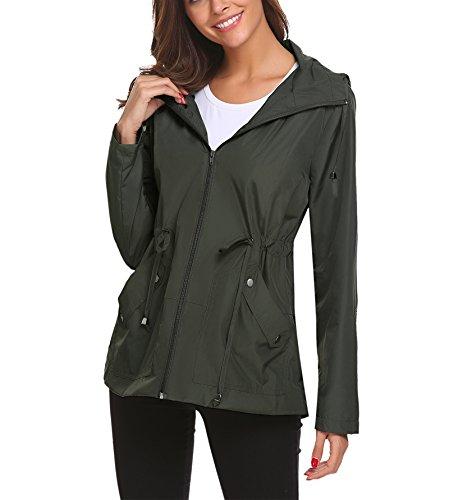 Lomon Chaqueta ligera para mujer, gabardina de viaje para lluvia, abrigo impermeable con capucha para el viento, abrigo plegable, chaqueta para lluvia.
