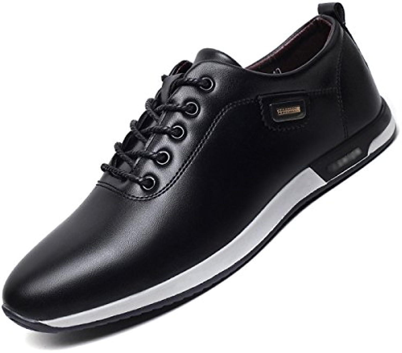 LYZGF Hombres Juventud Primavera-Verano Informal Zapatos De Cuero Cordones Tendencia Transpirable Cómodo,Black-41 -