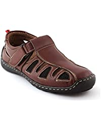 Albertiano Men's Leather Sandals And Floaters (Brown Color)
