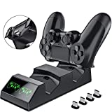 BEBONCOOL PS4 Controller Ladestation, Playstation 4 Controller Dualshock 4 Ladestation mit 4 Micro USB Lade Dongles Ladegerät Standfuß Kable zubehörset für Sony Playstation4 / PS4 / PS4 Slim / PS4 Pro
