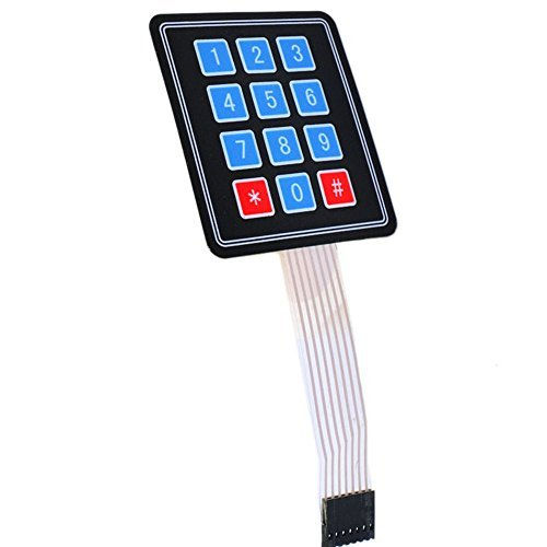 Optimus Electric 3x4 Membrane Switch Matrix Keypad Thin and Flexible with Cable Connector and Adhesive Back for Easy Surface Attachment from (Switch Custom Light)