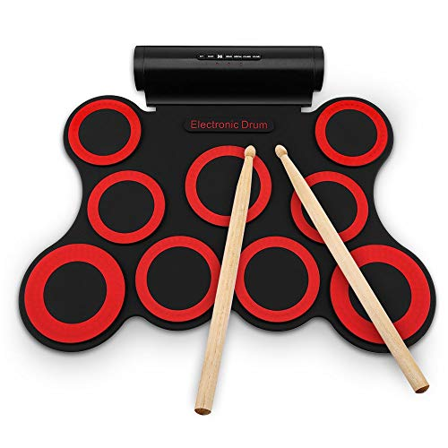 ic Drum Kit-9 Pads Portable Electronic Roll up Drum Folable Practice Instrument Built-in Speakers & Foot Pedals & Drum Sticks for Kids, Beginner, Adult ()