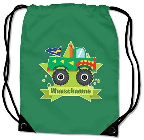 Samunshi® Turnbeutel mit Monstertruck-Pickup und Name für Jungen und Mädchen personalisierbar personalisiert mit Namen Sportbeutel für Schule Sport Sporttasche grün -