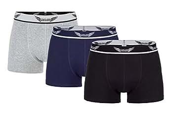 Taylor Phoenix Herren High-Class Retro Shorts/Boxer Shorts 3er Pack - gekämmte Baumwolle - angenehmer Komfortbund - Unterwäsche in 3-Farben (Schwarz, Grau, Blau), S 44-46