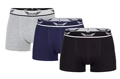Taylor Phoenix Herren High-Class Retro Shorts/Boxer Shorts 3er Pack - Unterwäschen-Set in 3 Farben (Schwarz, Grau, Blau), L 52-54