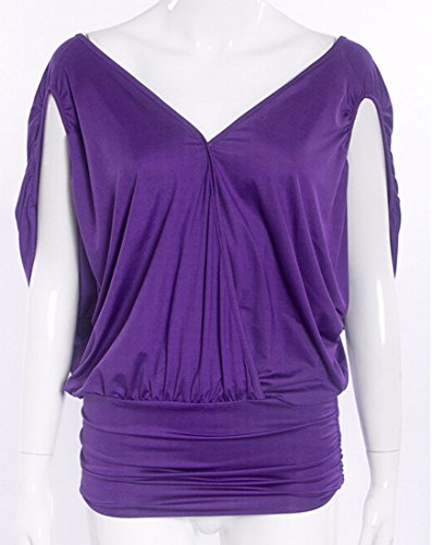 Kurzen Sommer Schlitz Geteilt Raglan Kimonoaermel Gefaltetes VAusschnitt  Tops Blusen TShirt Violet
