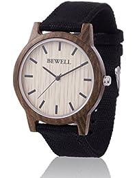 Reloj de madera ZEITHOLZ / Bewell BÄRENSTEIN / caja de sándalo 100% / producto natural / peso pluma / hipoalergénico / sostenible / cómodo de usar/ pulsera de lona