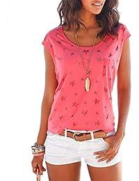 7c865e2fa46ac ELFIN Damen T-Shirt Kurzarmshirt Basic Tops Ärmelloses Tee Allover-Sternen  Druck Shirt Sommer