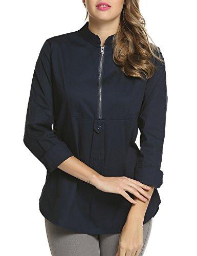Beyove Oberteile Damen Hemd Shirt OL Langarm Stehkragen Tops Frezeit Business Casual Herbst Winter Dunkelblau M (Damen-knopf-front-shirt)
