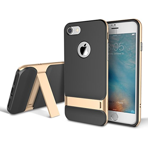 AISPORTS iPhone 8 Hülle, iPhone 8 Handyhülle Case Rock Dual Layer Armor Hybrid Robust Weich TPU Shell Hart PC Rahmen Schutzhülle Etui Tasche Beschützer Case Cover mit Ständer für iPhone 8 - Gold