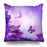 Decorativepillows Case Throw Pillows Covers for Couch/Bed 18 x 18 inch,Blue Beauty Amazing Butterfly Fairy Flowers Hydrangeas Home Sofa Cushion Cover Pillowcase Gift Bed Car Living Home
