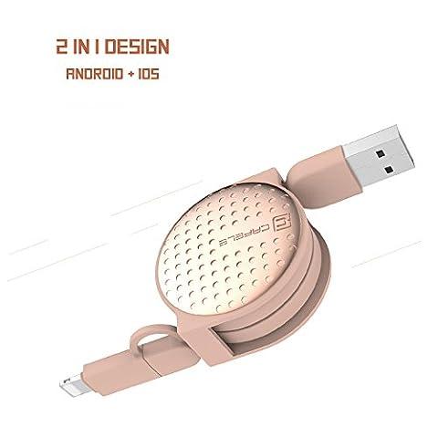 2 in 1 USB-Kabel 1m einziehbare Daten Sync Ladekabel mit