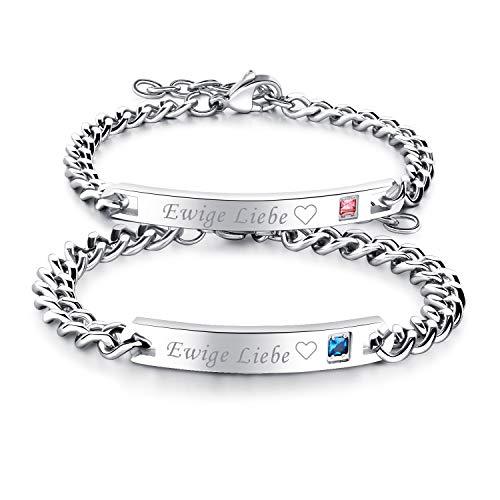 Cupimatch Paare Armband mit Gravur Ewige Liebe für Verliebte Edelstahl Schmuck Damen Silber Farbe (Paare Armband Schloss Und Schlüssel)