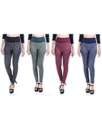 """Timbre Denim Style Casual Leggings Jeggings For Women Pack of 4 Free Size Fits From 26"""" upto 34"""" Waist Only"""