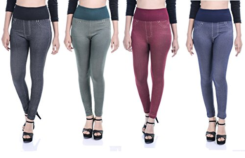 Timbre Denim Style Casual Leggings For Women Pack of 4 (Multi Colored)